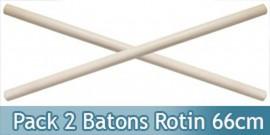 Set 2 Batons en Kali Arts Martiaux Bois 66cm 1905X2