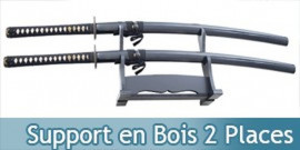 Support en Bois 2 Places Katana Presentoir Sabre Epee