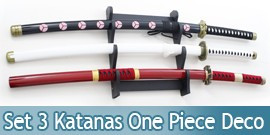 Lot 3 katanas One Piece Acier 440 Decoration Epee Zoro