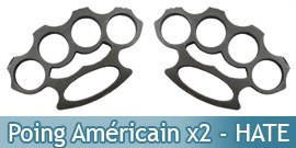 Set 2 Poing Americain Acier Hate PK-2438BHX2