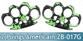 Set 2 Poing Americain Acier Death Green ZB-017GX2