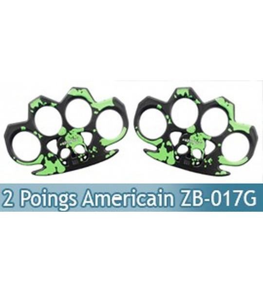Set 2 Poing Americain Acier Death Green ZB-017GX2