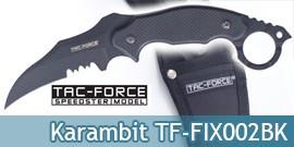 Couteau Karambit Lame Fixe Poignard Tac Force TF-FIX002BK