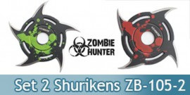 Set 2 Shurikens Circulaire Etoile Zombie Hunter ZB-105-2