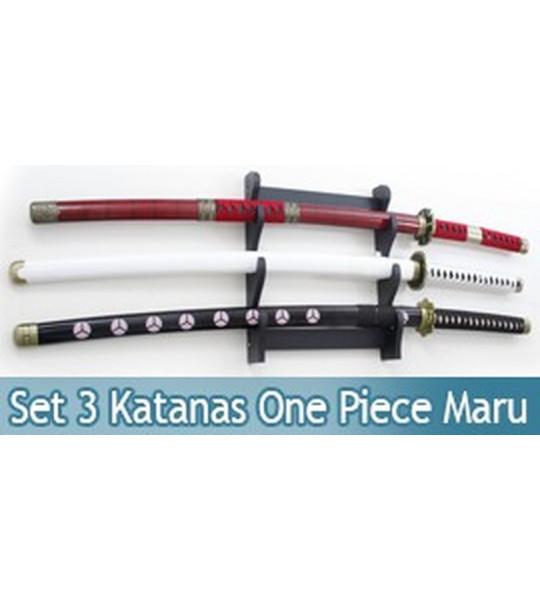 Pack 3 Katanas Tranchants Zoro One Piece Sabre Lame Maru