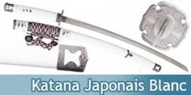Katana Japonais Blanc Decoration Epee Sabre Replique