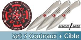 Pack 3 Couteaux de Lancer + Cible PP-075-3SL