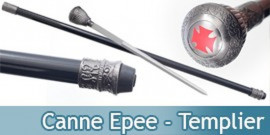 Canne Epee Templiere Chevalier Croix Rouge