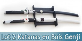Pack 2 Epees en Bois Lame en Bois Overwatch Katana + Support