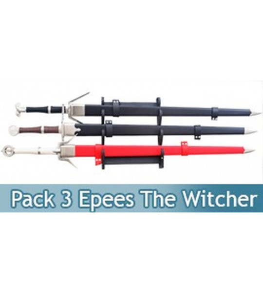 Pack 3 Epees The Witcher Geralt de Riv et Ciri + Support