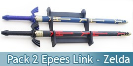 Pack 2 Epees Link Zelda Black et Blue + Fourreaux + Support