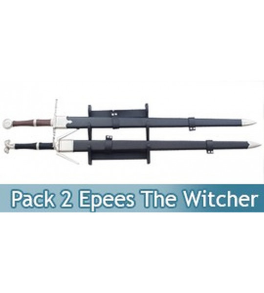 Pack 2 Epees The Witcher Sabre Geralt de Riv + Support