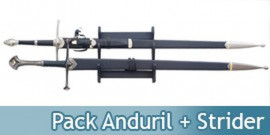 Pack 2 Epees Anduril et Strider Aragorn + Support