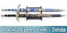 Lot 2 Epees Link Zelda Black et Blue + Support