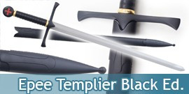 Epee des Templiers Chevalier Replique Black Edition