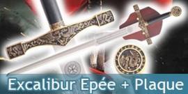 Excalibur Epée + Plaque Murale