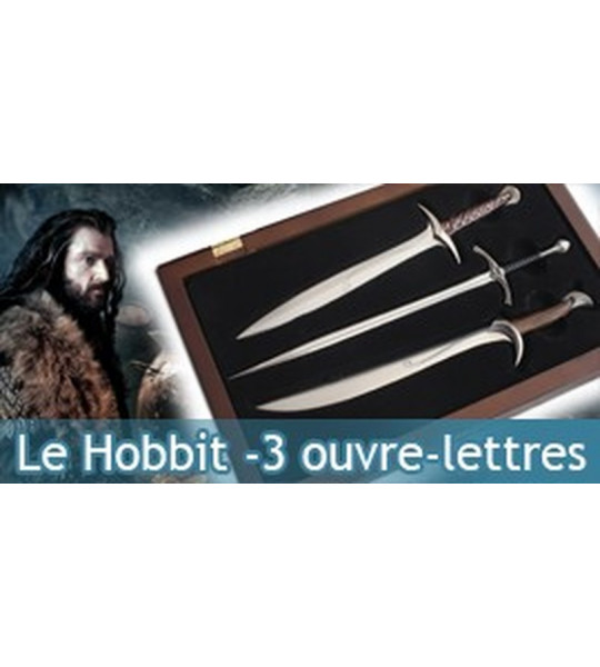 set 3 ouvre-lettres Glamdring Le Hobbit Sting Orcrist Noble Collection
