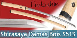 Fudoshin - Shirasaya Forgé Bois Naturel Damas - S51S