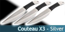 Couteau de Lancer X3 - Silver - TACL02