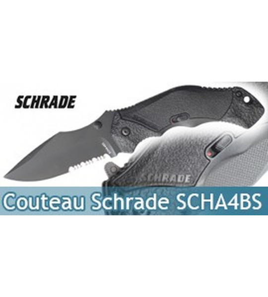 Couteau Schrade SCHA4BS Dentelé - Black Edition