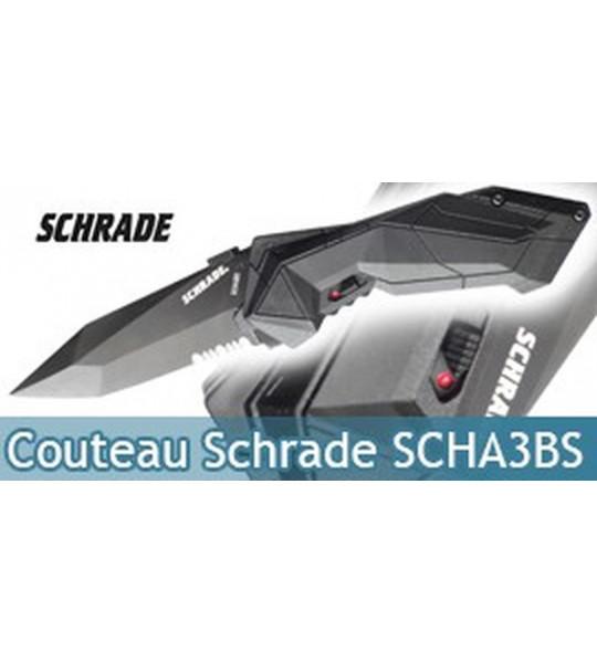 Couteau Schrade Black SCHA3BS Dentelé - Black Edition