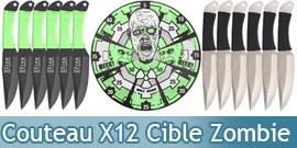 12 Couteaux de Lancer + Cible Zombie - XL1531